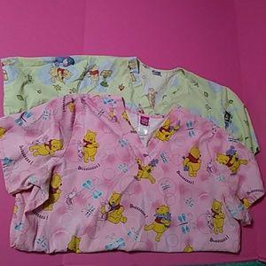 Winnie pooh disney scrub scrubs top